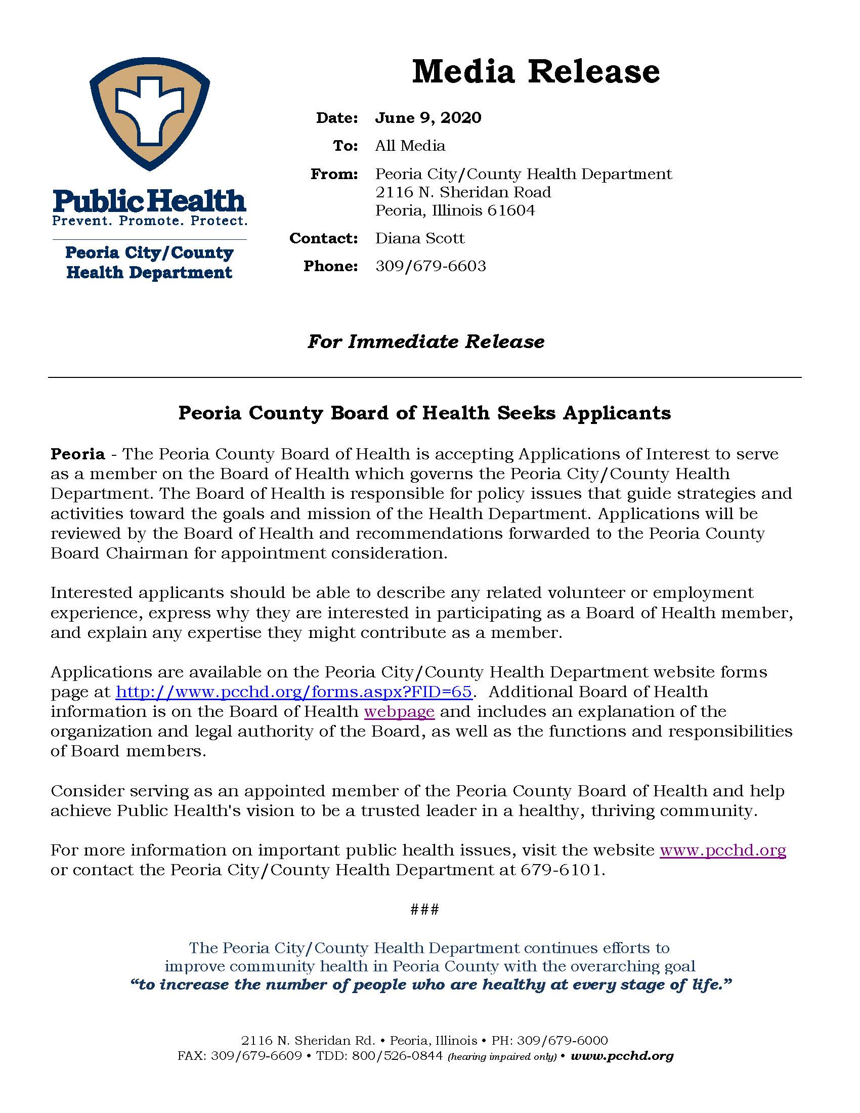 Board of Health Seeks Applicants press release