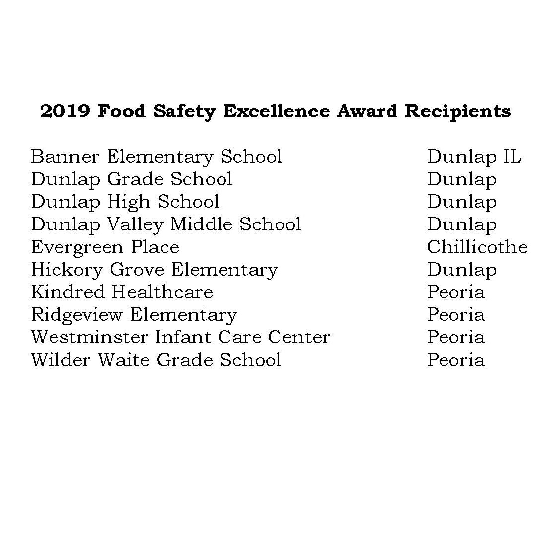 2019 Food Safety Excellence Award Winners  22